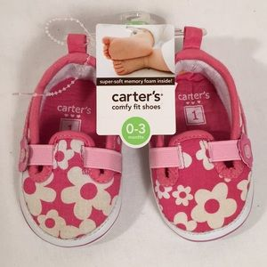 Carter's Baby Shoes Size 1 Pink White 0-3 Months